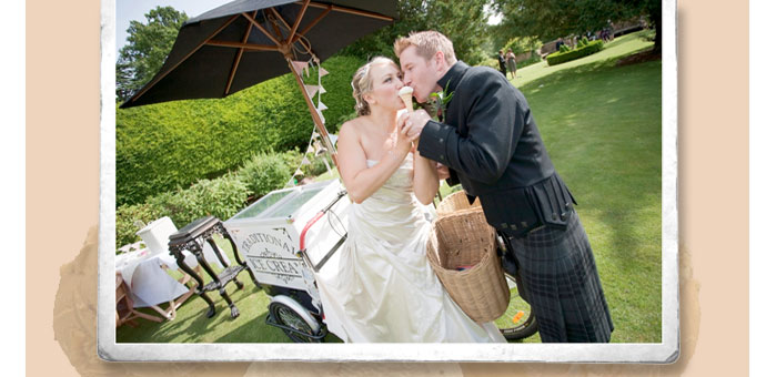 Tricycle Treats vintage Ice Cream bike for hire at weddings in Fife and Scotland